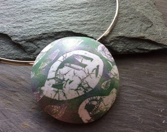 Mother's Day Gift - Lightweight Pendant - Heather colours - Polymer clay necklace