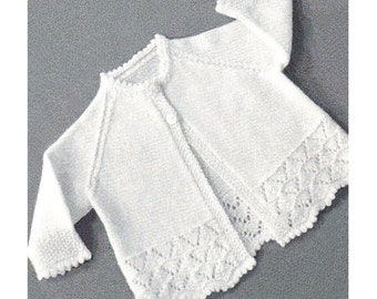 1950s Vintage Knit Baby Sweater Pattern Lacy Raglan Sleeve Sweater Knitting Pattern PDF Instant Download 3 to 6 Months K26