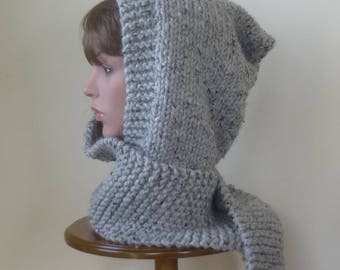Hooded Scarf Chunky Knit Scoodie Teen Adult Warm Hooded Scarf - Grey Marble - Ready to Ship - Direct Checkout - Gift for Her