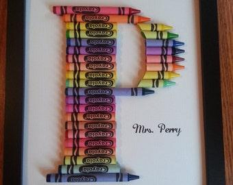 Crayon Letter Wall Art-Teacher Gifts