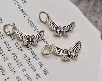 3 pcs oxidized sterling silver butterfly charm pendant  QT04