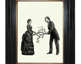 Art Print Valentine's Day Victorian Couple with Tentacle arms Octopus Kraken Lady Gentleman Steampunk Art Print