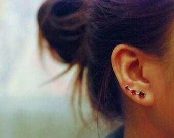 January Birthstone Garnet Ear Climbers Sterling Silver