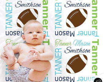 Football blanket, personalized gift, boy football blanket, lime green and navy blue blanket, personalized sports name blanket, blanket
