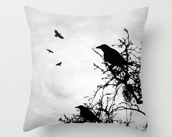 Crow Throw Pillow, Bird Cushion Case, Crow pillow Cover, Design 43 Crow Raven tree grey black digital by L.Dumas