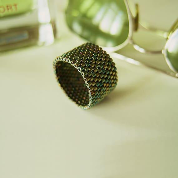Metallic Green Ring, Beaded Green Ring, Green Ring Band, Dreadlock Bead, Couple Rings