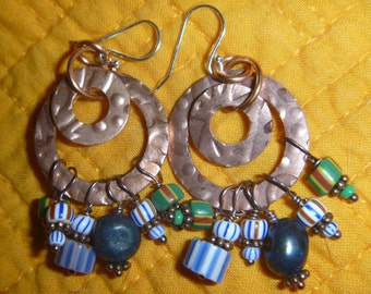 Vintage cluster of African trade bead earrings with copper and sterling hooks