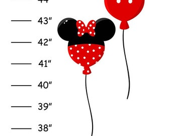 Personalized Mickey Minnie Girl Canvas Growth Chart