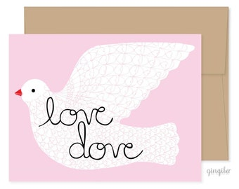 Love Dove Card, Valentines Day Card, Sweet Valentines Card, Valentine for Her, Best Valentines Day Card, Dove Valentine, Love Cards for Her