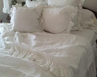 Ruffled Linens White Linen Full Size Flat Bed Sheet
