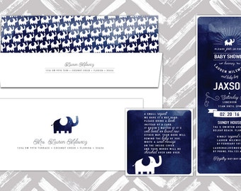 Printable, Elephant Invitation, Blue Watercolor with Book card