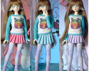 Pastel Slim MSD MiniFee Pleated Skirt Light Blue /Lavender