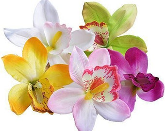 10 Large Artificial Flowers Wedding Decorative Silk Orchid Flower Head 11cm to 13cm Dia