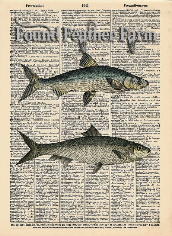 """Vintage Antique Dictionary Page with Antique Print """"Two Fish"""""""