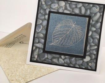 Silver Leaf Earthy Pebbles Handmde Birthday Card