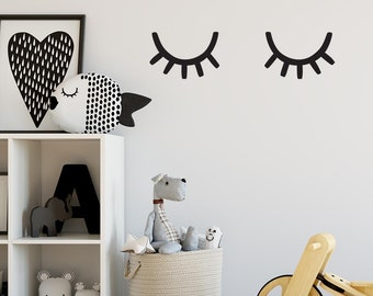 Eyelash Wall Decals - Sleepy Eyes Decal, Nursery Decals, Vinyl Wall Decals, Nursery Decor, Wall Stickers, Scandinavian Decor