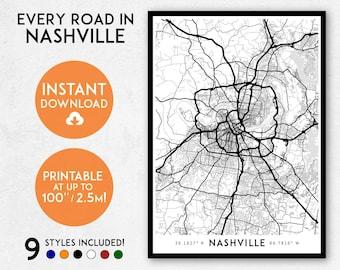 Nashville map print, Printable Nashville map art, Nashville print, Tennessee map, Nashville art, Nashville poster, Nashville wall art print