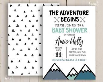 wild Baby Shower Invitation, rustic adventure begin invitation printable, Mountain Baby Shower Invitation, DIY adventure begins digital file