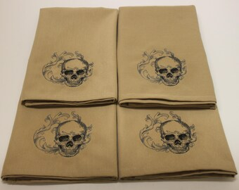 Baroque Skull Embroidered Cloth Napkins