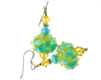 Lampwork Earrings, Turquoise Yellow Earrings, Glass Bead Earrings, Beadwork Earrings, Glass Bead Jewelry, Lampwork Jewelry