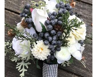 Rustic Winter Wedding Bouquet/Jr Maid Bouquet