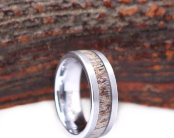 Antler Tungsten Band Mens Wedding Band Deer Antler Tungsten Ring Antler Mens 8mm Wedding Ring Custom Rings By Pristine