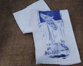 Horse and puppies linen dish towel