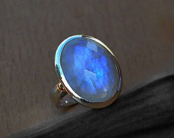 Faceted Rainbow Moonstone Gemstone Ring -Faceted Moonstone Ring- Moonstone In 925 Sterling Silver -June Birthstone Ring -Moonstone Gift Ring