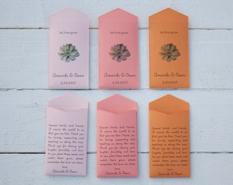 50+ Succulent Pink, Coral, Orange Custom Seed Packet Wedding Favors - Many Colors Available