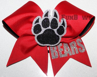Awesome 3-D glitter Bears pawprint   - Allstar cheer Bow by FunBows !