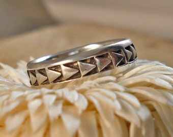 Sterling Silver Cast Patterned Ring Multiple sizes