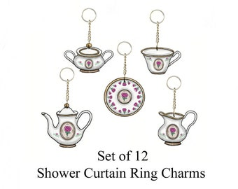 Victorian Roses Tea Set......Shower Curtain Bling Charms/Ornaments....Set of 12
