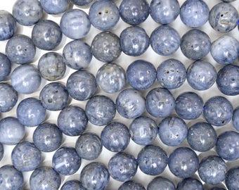 "6mm blue sponge coral round beads 15.5"" strand 39436"