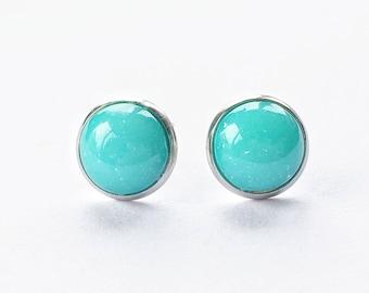 Turquoise aqua blue candy ball stud earrings, robins egg blue studs, stainless steel anti allergy earrings, glittery aqua studs