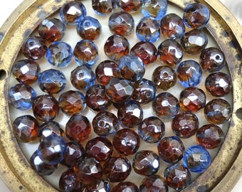 Vintage Givre Faceted Glass Beads Two Color Root Beer Blue
