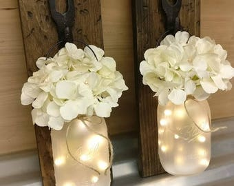 Rustic Mason Jar Lighted Wall Sconces, Set of 2, Rustic Home Decor, Lighted Mason Jars, Rustic Lighted Wall Sconces, Mason Jar Decor