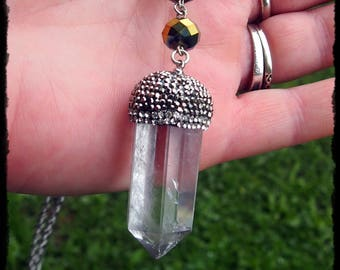 Large Clear Quartz Crystal Necklace - Ready to Ship - Gothic Wicca Fantasy