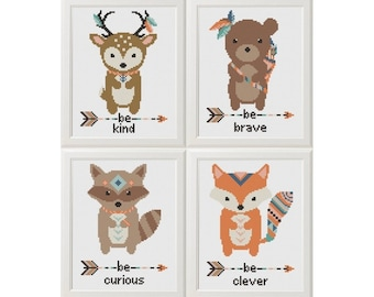 animals Cross Stitch Printable PDF Pattern, Baby Shower Gift, Nursery Embroidery Set fox deer bear raccoon, Be clever Be brave Be kind DIY