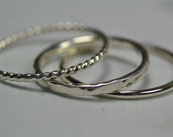 Sterling Silver Stacking Rings - Set of 3 - Dainty Stacking Rings x3