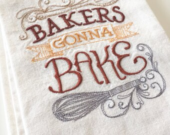 bakers gonna bake kitchen towel earthy colors kitchen pride off white cotton - Bakers Gonna Bake Kitchen Redwork Embroidery Designs