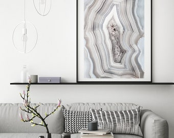 Mineral Photography - (Print #X512)  White Agate with Hand Drawn Silver Stripes    - Mineral / Geode / Agate / Crystal Decor - Bohemian Home