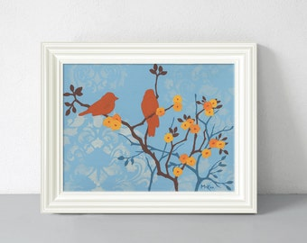 Bird Print, Cottage Home Decor