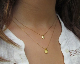 Two Layered Teardrop Necklaces, Simple Gold Necklaces, Gold Teardrop Necklaces, Simple Gold Necklace