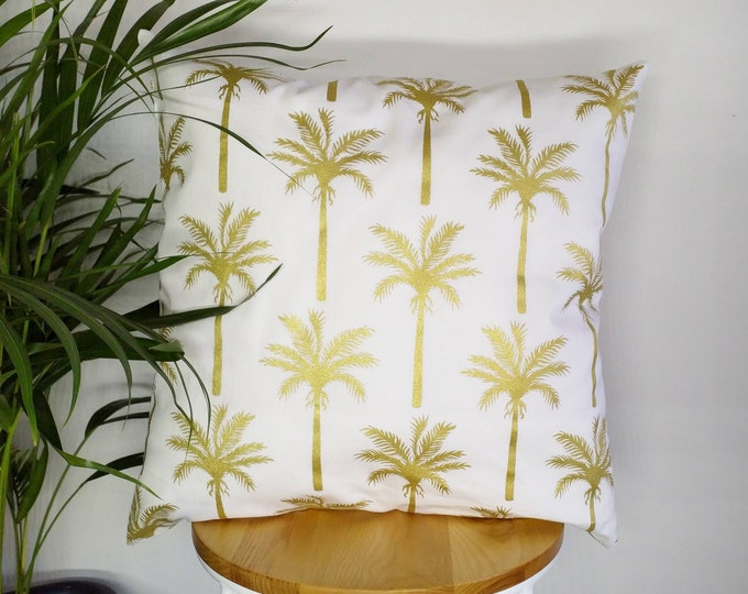 Featured listing image: Tropical gold palm tree print cushion cover