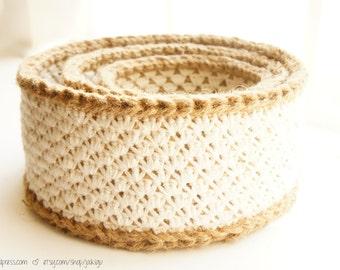 Crochet Stacking Baskets - PDF Crochet Pattern - Jute and Lace Cotton Nesting Baskets - JaKiGu Pattern 302