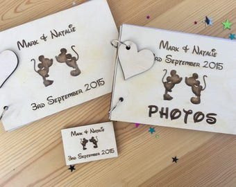 Personalised Wedding Wood Engraved Kissing Mickey Minnie Disney Photo Guest book