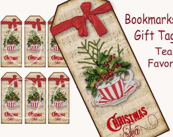 Christmas Tea Bookmarks, Tea cup Tags, Digital Tea Party Favor, Tea Gift Enclosure, Digital Printable, Christmas Tea Party supplies, Red bow