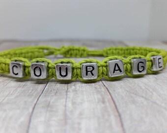 Inspirational Jewelry - Inspirational Bracelet- Courage Bracelet - Courage Jewelry - Hemp Jewelry - Hemp Bracelet - Bohemian Jewelry