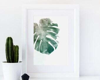 Monstera Leaf Print, Watercolour Leaf Print, Botanical Art Print, Botanical Leaf Print, Giclee Art Print, Minimalist, Scandinavian Style