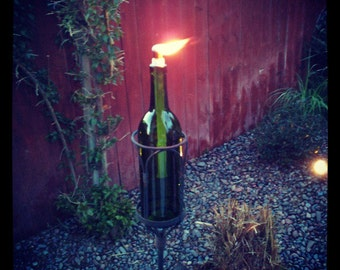Wine Bottle Tiki Torches - for the stand